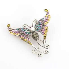 Butterfly pendant brooch with enamel and marcasites