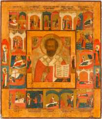 MONUMENTAL VITA ICON OF ST. NICHOLAS OF MYRA WITH 16 SCENES FROM HIS LIFE