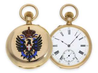 Pocket watch: historically significant gold / enamel pocket watch, present watch from the Italian royal family Umberto I, Musy, Padre e Figli No.99177, Geneva anchor chronometer, around 1895