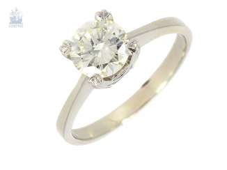 Ring: high-quality, white Golden vintage solitaire diamond ring, approx. 1,25 ct, high purity