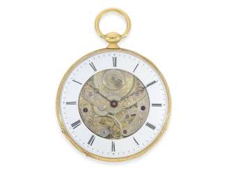 Pocket watch: extremely flat Lepine with Bagnolet caliber in the extremely rare skeletonized Version, Lebet & Fils, No. 1519, CA. 1840