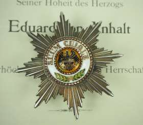 Prussia: High-order of the Black eagle, breast star of the Duke Eduard of Anhalt.