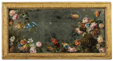 Baroque mirror with still life painting. Italy, 17. Century and later