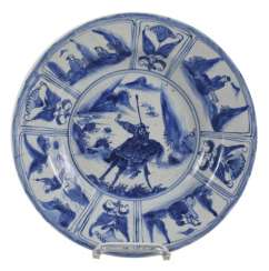 Kraak dish with a representation of Guanyu on his horse