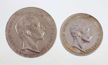 2 and 3 Mark Prussia Wilhelm II 1905/1909 A