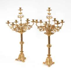 Pair of large neo-Gothic candelabra.