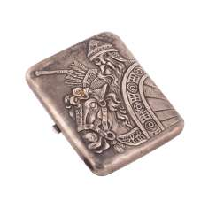 Russian silver cigarette case with image of Ilya Muromets
