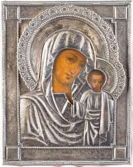 SMALL ICON OF MOTHER OF GOD OF KAZAN (KAZANSKAYA) WITH SILVER OKLAD