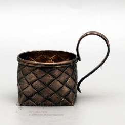 Silver holder with imitation of braiding from birch bark, Russia, late 19th century, 84 sample