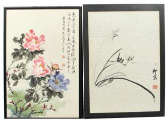 Two paintings of flowers and genre