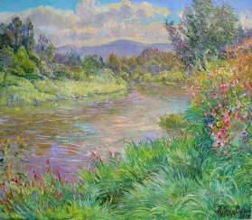 River bank Painting by Aleksandr Dubrovskyy
