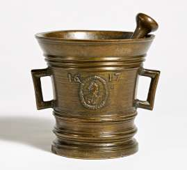 Mortar with a mascaron. Dated 1617