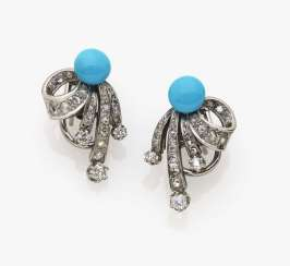 A pair of diamond and turquoise earrings