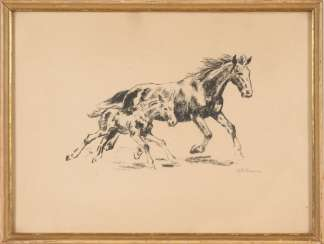 KLEMM, Walter: Mare and foal.
