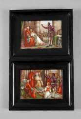 Two porcelain plates with scenes from Shakespeare's Othello