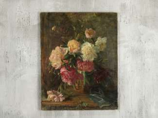 "Antique painting ""Peonies"""
