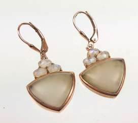 Smoky quartz earrings with moonstone