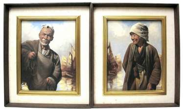 Pair of portraits of fishermen, Oil on canvas, framed
