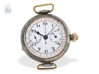 Watch: very early crown pusher Chronograph, Register and enamel dial, in silver, Switzerland around 1915