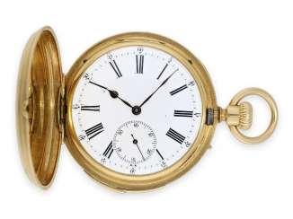 Pocket watch: early, small gold savonnette with repeater, caliber Le Coultre, Rossel & Fils Geneve No.90279, very fine quality, approx. 1860