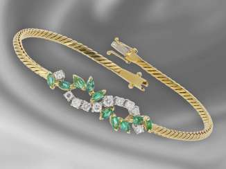 Bracelet: fine and elaborately crafted gold forged bracelet with emerald/diamond trimming, 18K Gold