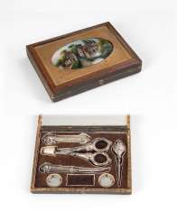 Box with behind glass, miniature, and N
