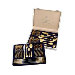 SOLINGEN dining Cutlery for 12 people in a suitcase, gold-plated tungsten, 20. Century