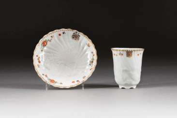 JOHANN JOACHIM KAENDLER in 1706, Fischbach/Arnsdorf - 1755 in Meissen by Johann Friedrich Eberlein and Johann Gottlieb Ehder RARE CUP WITH under dish FROM THE brühl's Swan service