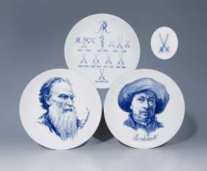 3-piece-set-blue decor wall plate, MEISSEN, 1972-1978