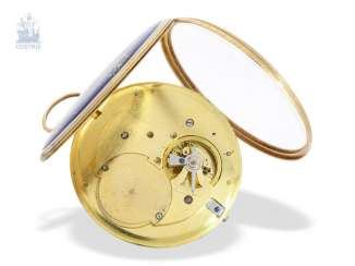 Pocket watch: extremely rare Gold/enamel pocket watch with comma-inhibition (Lepine caliber), Museum quality, Frères Melly, Genève, No. 5979, around 1800