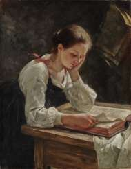 South German, late 19th century, young woman reading
