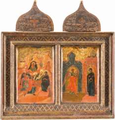 TWO SMALL ICONS WITH THE BIRTH OF CHRIST AND THE ANNUNCIATION OF THE MOTHER OF GOD