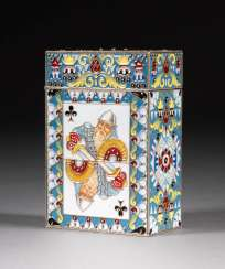 CLOISONNÉ ENAMEL PLAYING CARD CASE 2nd half of the 20th century silver