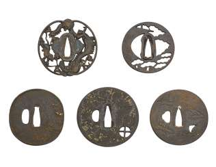 A GROUP OF FIVE IRON TSUBA