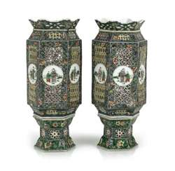 Pair of lanterns made of porcelain with decor in the colors of the Famille verte