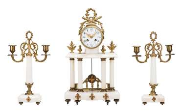 Mantel clock with two-burner chandelier, pair of