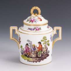 Sugar bowl with a farmer's scene
