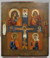 Four fields icon with the crucifixion of Christ, Russia