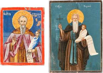 TWO SMALL ICONS WITH THE HOLY STYLIANOS