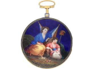 Pocket watch: large, fine Spindeluhr with enamel painting, rare revolution, motif, Chevalier Paris No. 634, CA. 1795