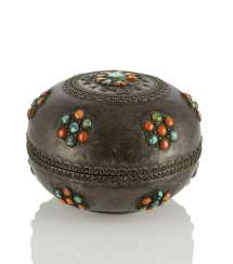 Lidded box made of silver and wood with coral and turquoise trim