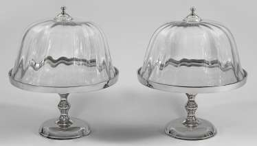 Pair of cake platters with glass dome