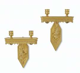 A PAIR OF DIRECTOIRE ORMOLU TWIN-BRANCH WALL-LIGHTS