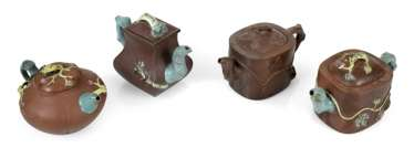 Four teapots from Zisha-Ware