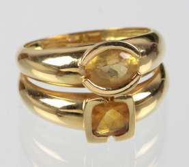 Double ring with citrine - yellow gold 750
