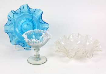 3 art Nouveau folding glass bowls circa 1910