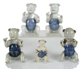 Five porcelain boy in a sitting posture