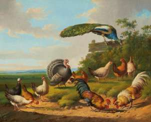 Two paintings: chickens and peacocks in the meadow