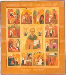 A LARGE ICON WITH ST. NICHOLAS OF MYRA WITH TWELVE SCENES OF HIS VITA