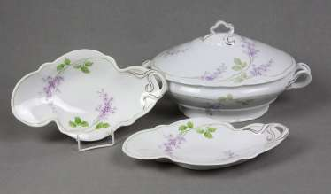 2 art Nouveau cups & tureen